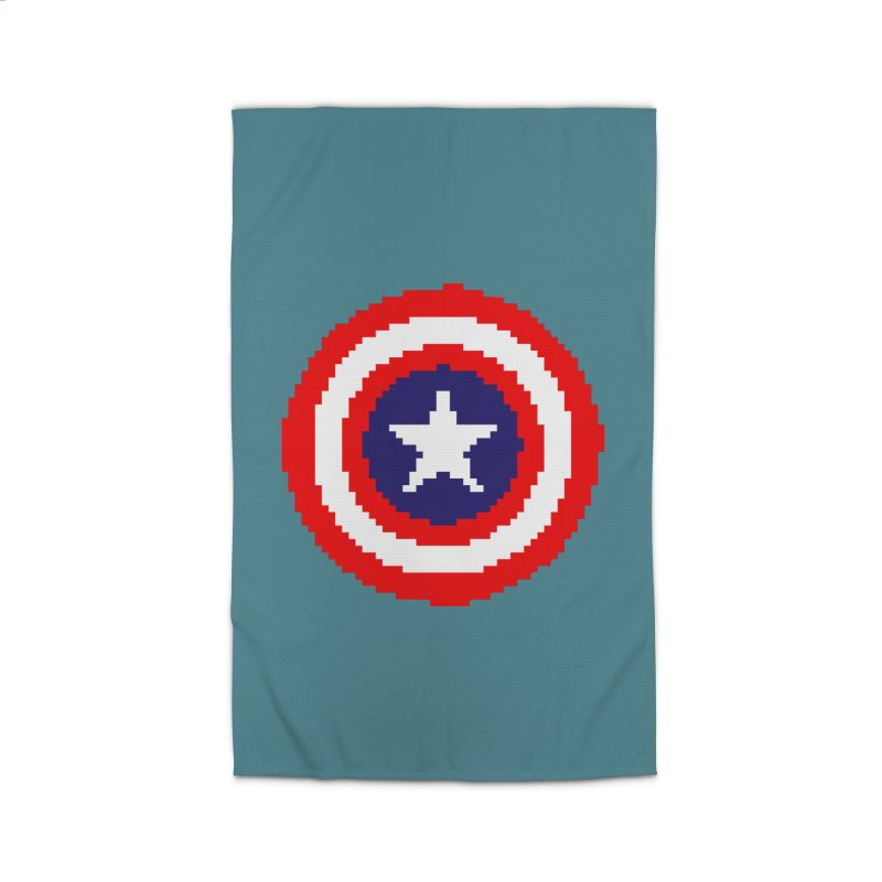 Captain America | Pixel Logo Home Rug by Silli Philli Produktionz