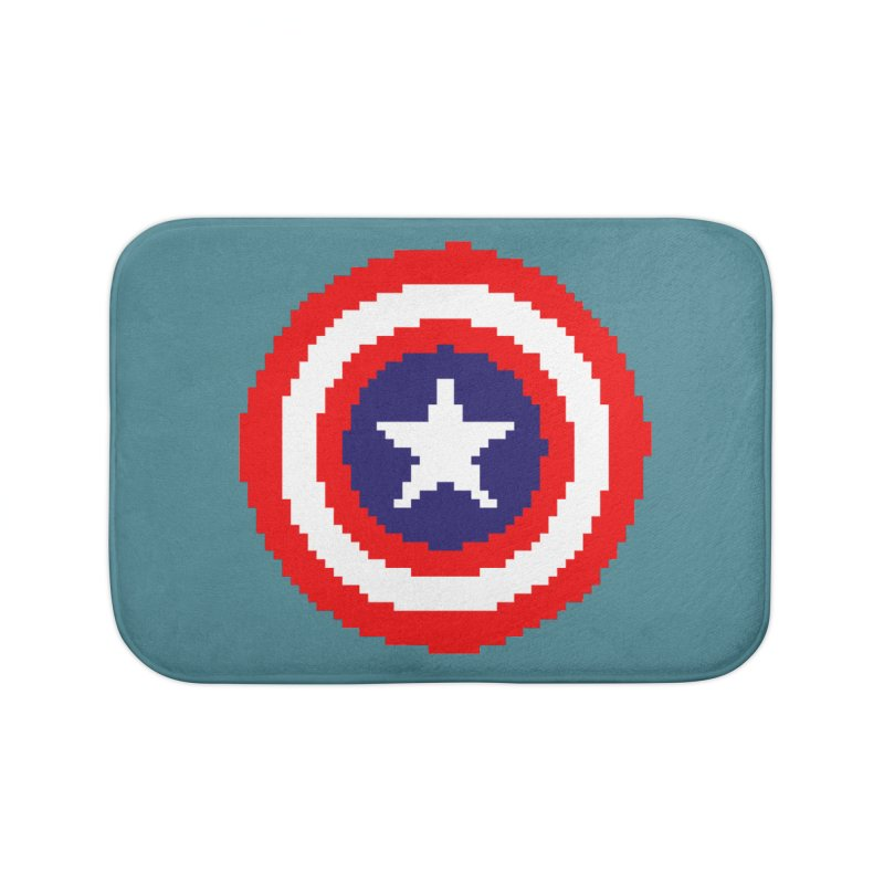Captain America | Pixel Logo Home Bath Mat by Silli Philli Produktionz