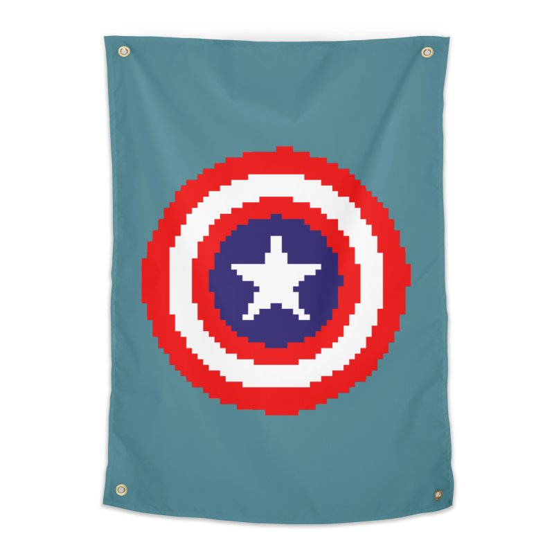 Captain America | Pixel Logo Home Tapestry by Silli Philli Produktionz