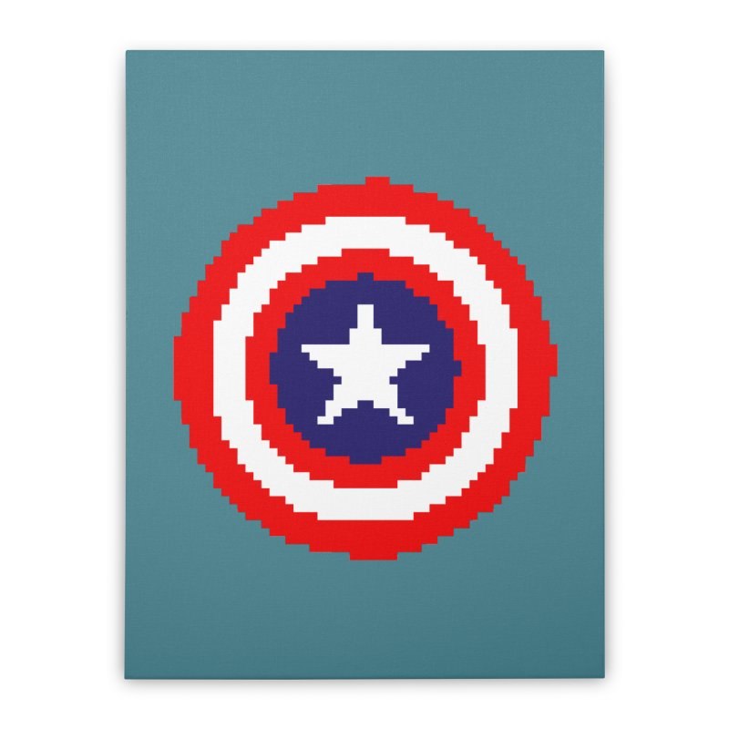 Captain America | Pixel Logo Home Stretched Canvas by Silli Philli Produktionz | Custom Prints