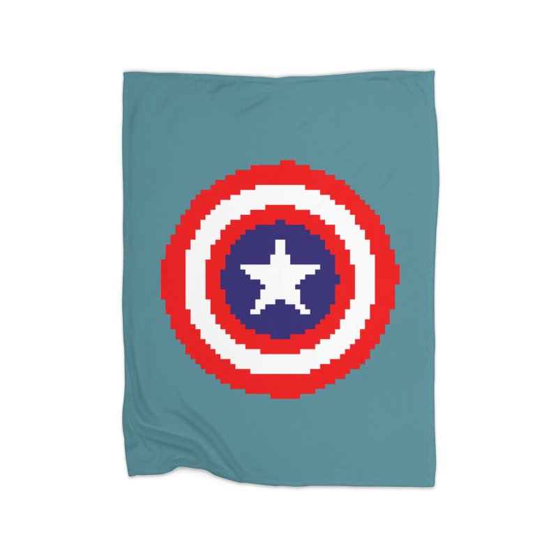 Captain America | Pixel Logo Home Fleece Blanket Blanket by Silli Philli Produktionz