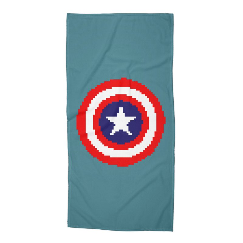 Captain America | Pixel Logo Accessories Beach Towel by Silli Philli Produktionz