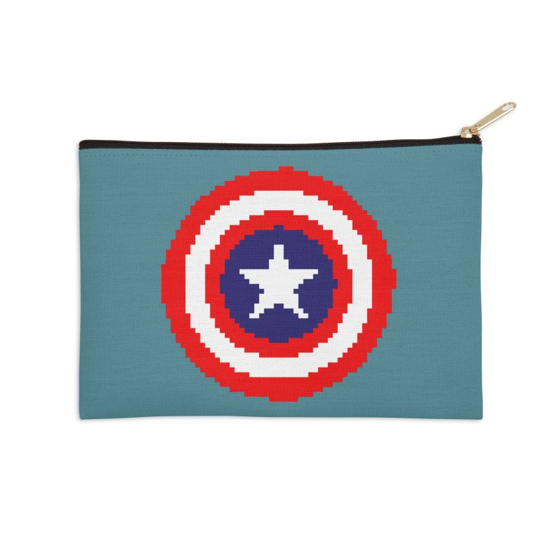Captain America | Pixel Logo Accessories Zip Pouch by Silli Philli Produktionz