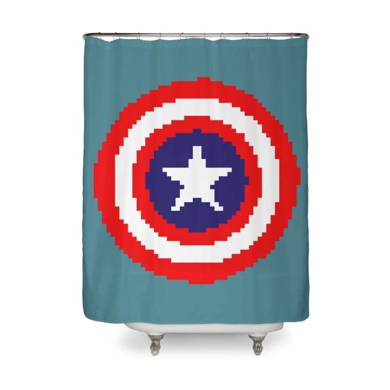 Captain America | Pixel Logo Home Shower Curtain by Silli Philli Produktionz