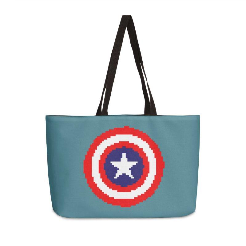 Captain America | Pixel Logo Accessories Weekender Bag Bag by Silli Philli Produktionz