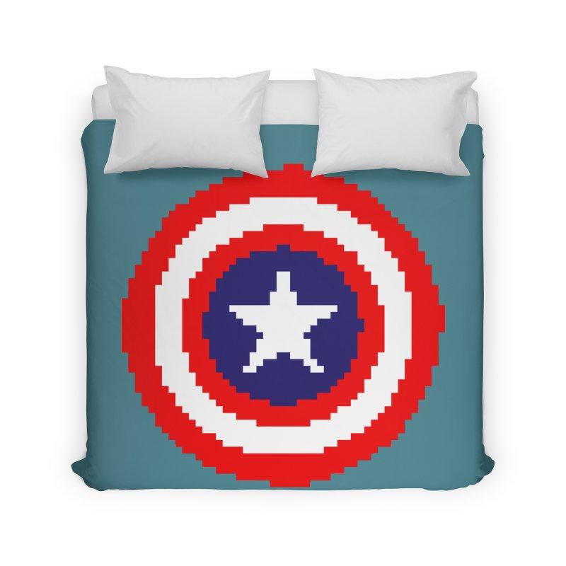 Captain America | Pixel Logo Home Duvet by Silli Philli Produktionz