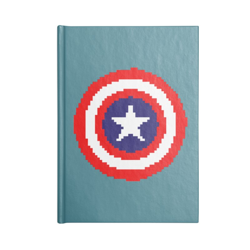 Captain America | Pixel Logo Accessories Lined Journal Notebook by Silli Philli Produktionz