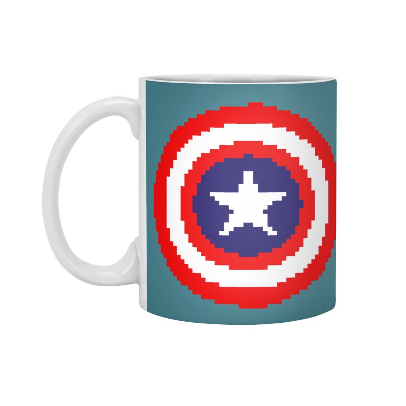 Captain America | Pixel Logo Accessories Standard Mug by Silli Philli Produktionz