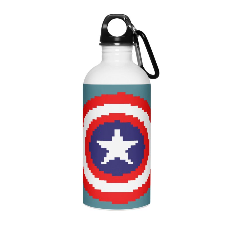 Captain America | Pixel Logo Accessories Water Bottle by Silli Philli Produktionz
