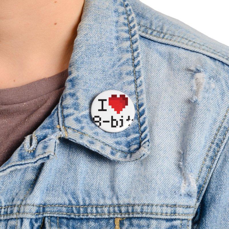 I Heart 8-bit Accessories Button by Silli Philli Produktionz | Custom Prints