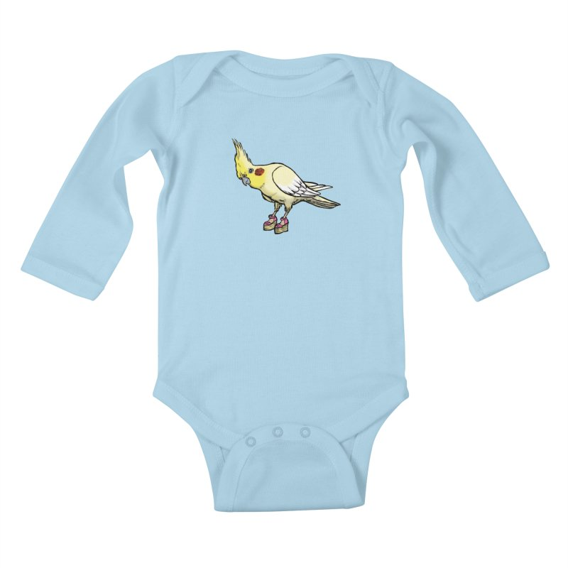 Cockatiel Kids Baby Longsleeve Bodysuit by Simon Christopher Greiner