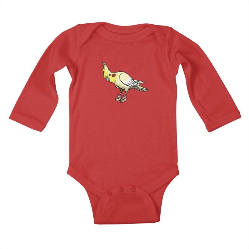 Cockatiel Kids Baby Longsleeve Bodysuit by Simon Christopher Greiner
