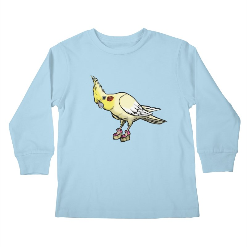 Cockatiel Kids Longsleeve T-Shirt by Simon Christopher Greiner