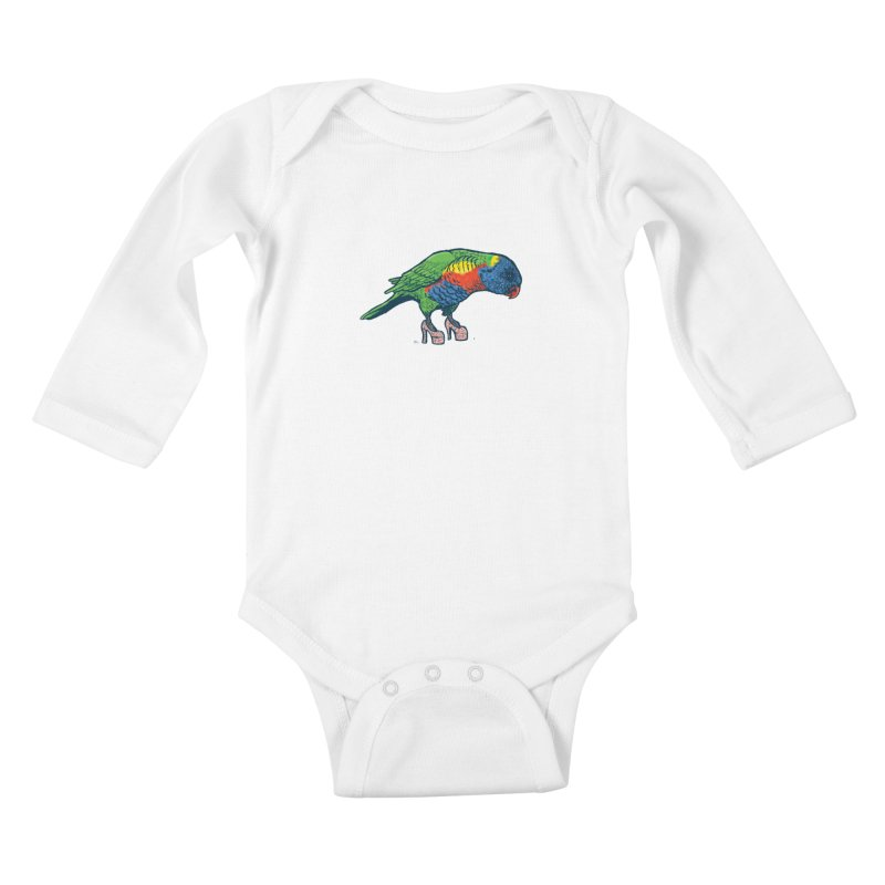 Lorikeet Kids Baby Longsleeve Bodysuit by Simon Christopher Greiner