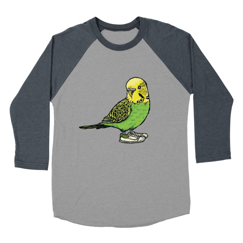 Budgie Men's Baseball Triblend Longsleeve T-Shirt by Simon Christopher Greiner