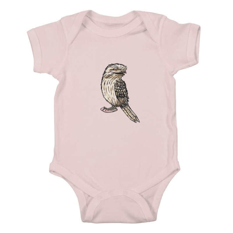 Tawny Frogmouth Kids Baby Bodysuit by Simon Christopher Greiner