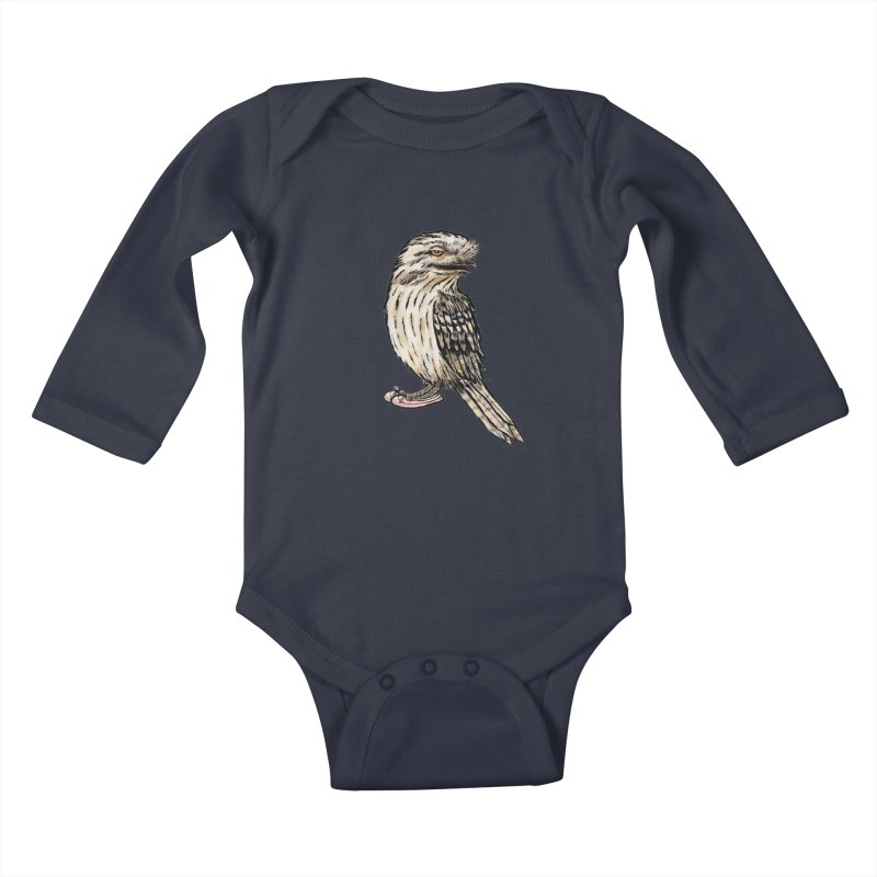 Tawny Frogmouth Kids Baby Longsleeve Bodysuit by Simon Christopher Greiner