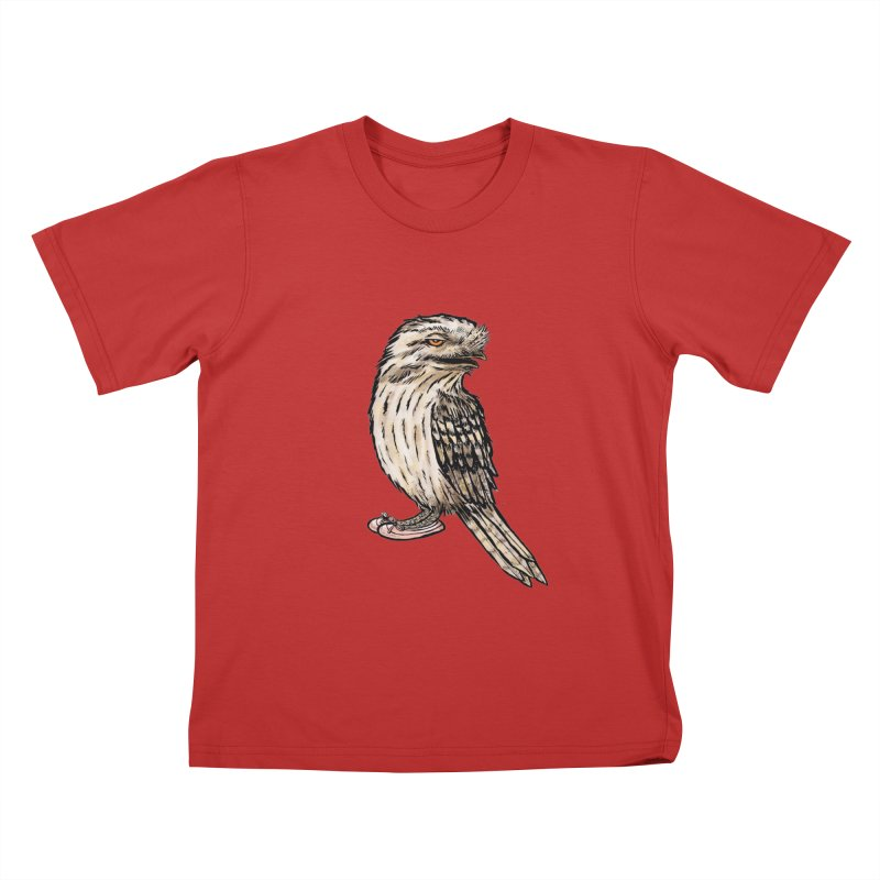 Tawny Frogmouth Kids T-Shirt by Simon Christopher Greiner