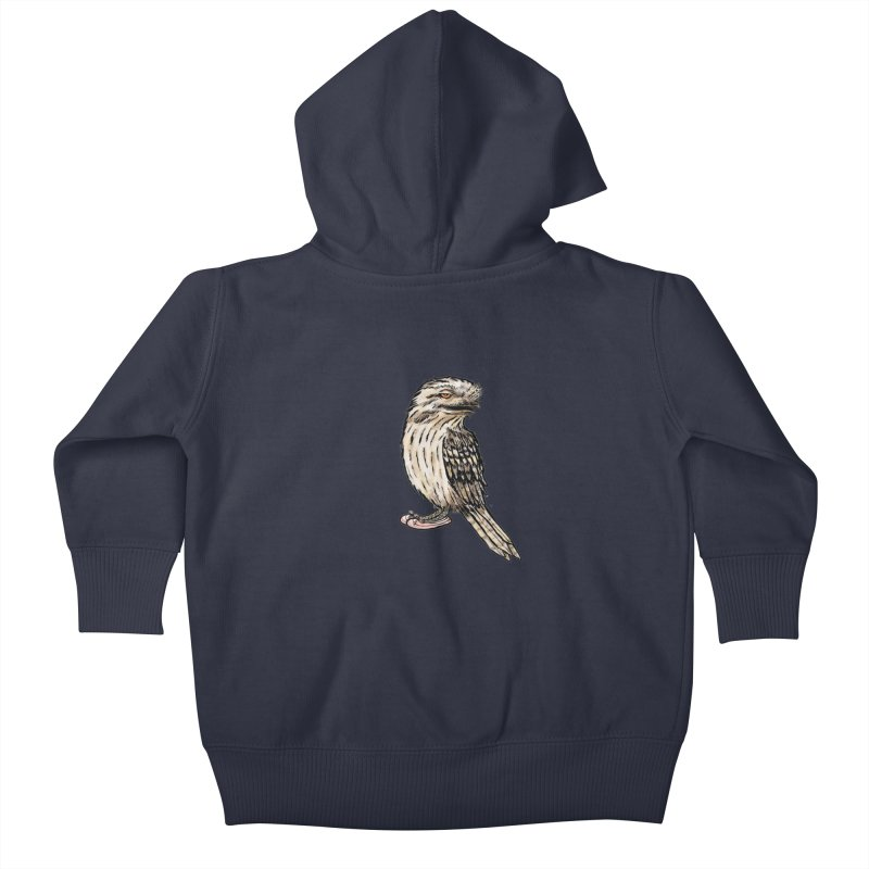 Tawny Frogmouth Kids Baby Zip-Up Hoody by Simon Christopher Greiner