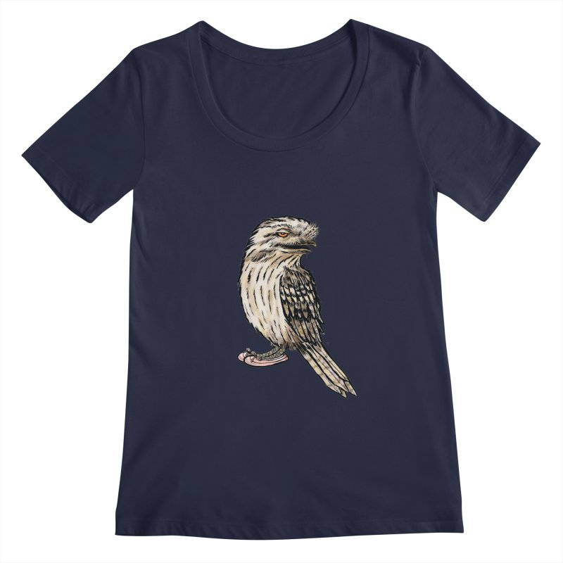Tawny Frogmouth Women's Scoopneck by Simon Christopher Greiner