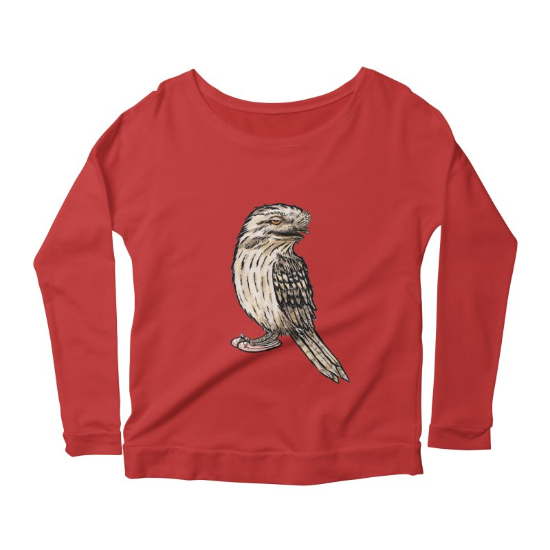 Tawny Frogmouth Women's Longsleeve Scoopneck  by Simon Christopher Greiner
