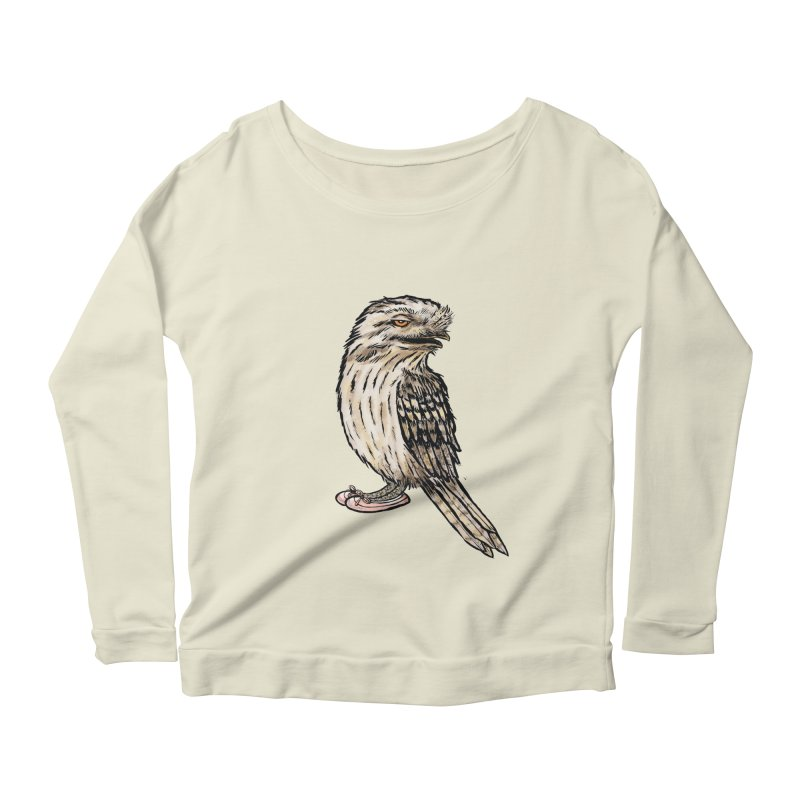 Tawny Frogmouth Women's Scoop Neck Longsleeve T-Shirt by Simon Christopher Greiner