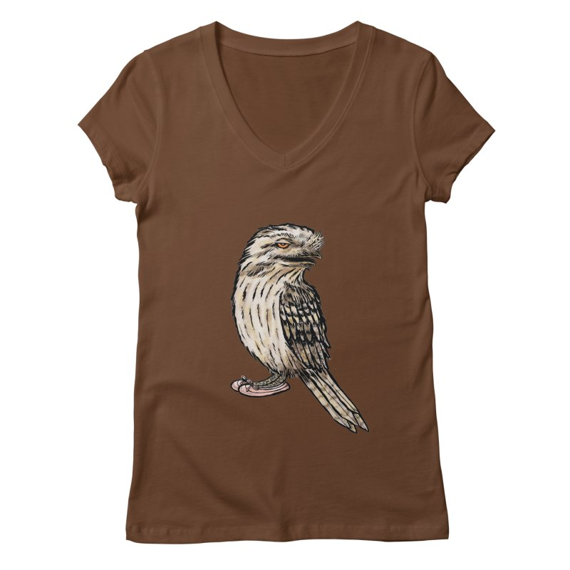 Tawny Frogmouth Women's V-Neck by Simon Christopher Greiner