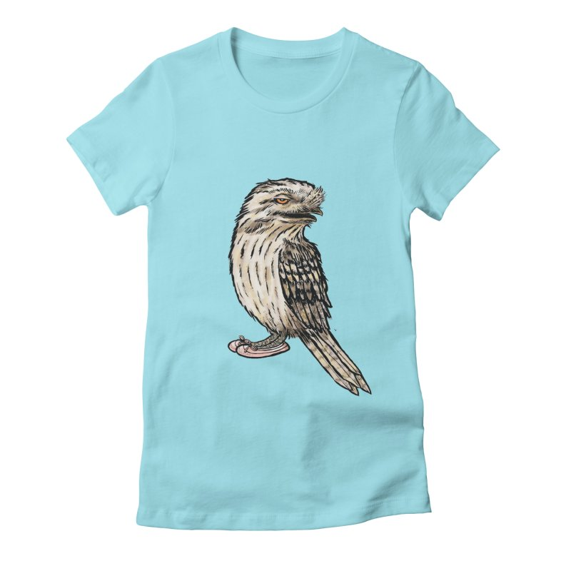 Tawny Frogmouth Women's Fitted T-Shirt by Simon Christopher Greiner