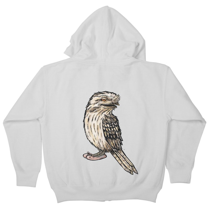 Tawny Frogmouth Kids Zip-Up Hoody by Simon Christopher Greiner