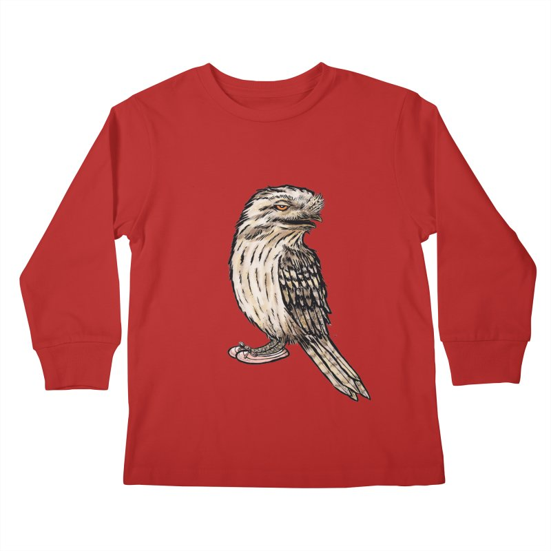 Tawny Frogmouth Kids Longsleeve T-Shirt by Simon Christopher Greiner