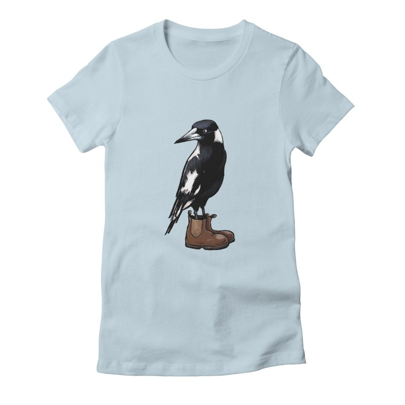 Magpie Women's Fitted T-Shirt by Simon Christopher Greiner