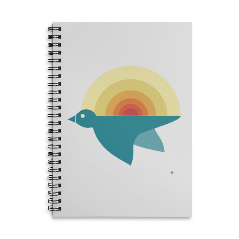 Pájaro Sunrise Accessories Lined Spiral Notebook by Sin Remite Artist Shop
