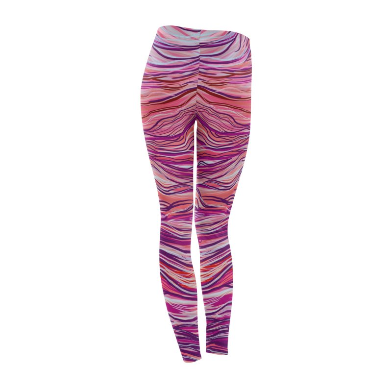 Pink Abstract Lines Women's Bottoms by Ƨ I Я A K Λ