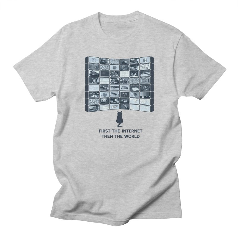 Cats rule the world in Men's T-shirt Heather Grey by siso's Shop