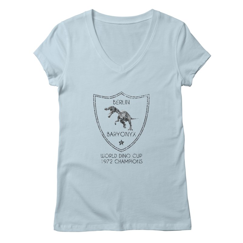 Dino cup - Berlin Baryonyx (Black) Women's V-Neck by siso's Shop
