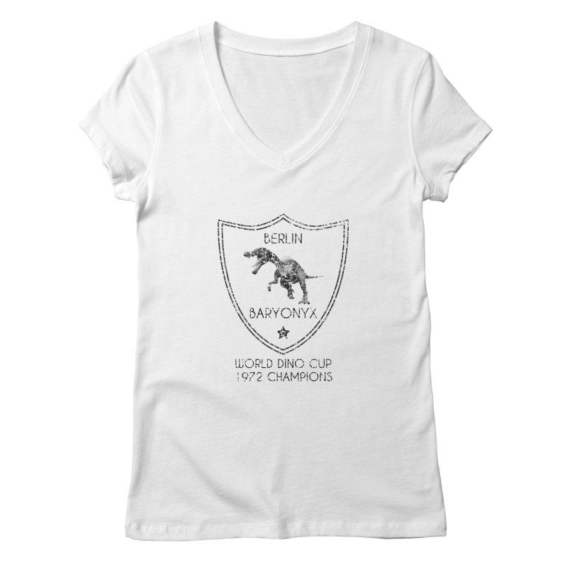 Dino cup - Berlin Baryonyx (Black) Women's V-Neck by siso's Shop