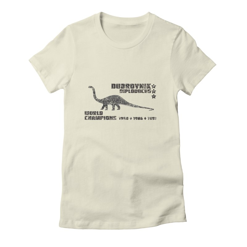 Dino Cup - Dubrovnik Diplodocus (Black) Women's Fitted T-Shirt by siso's Shop