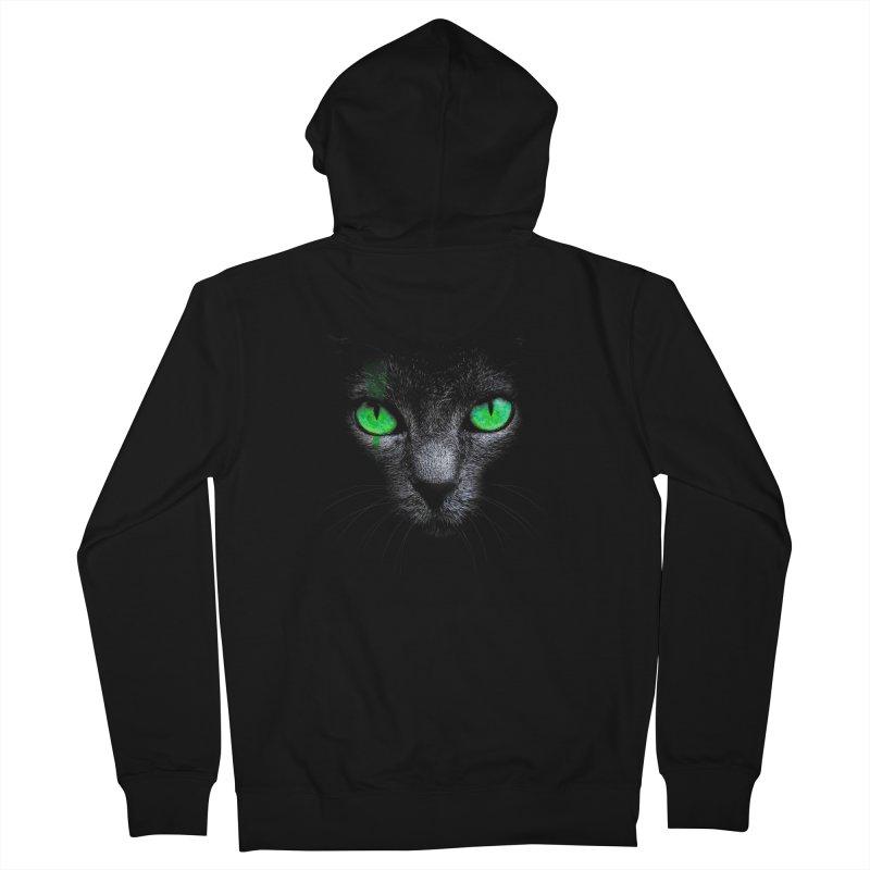 Black Cat Men's Zip-Up Hoody by Sitchko