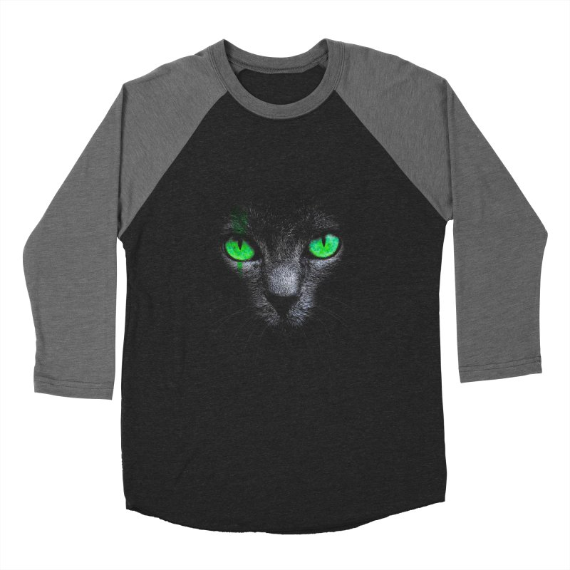 Black Cat Men's Baseball Triblend T-Shirt by Sitchko