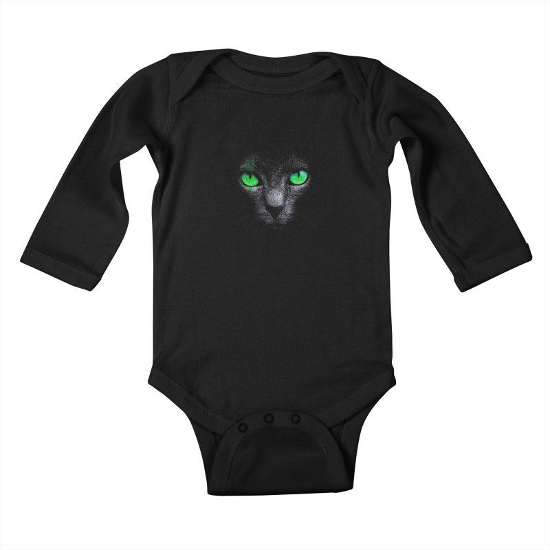 Black Cat Kids Baby Longsleeve Bodysuit by Sitchko