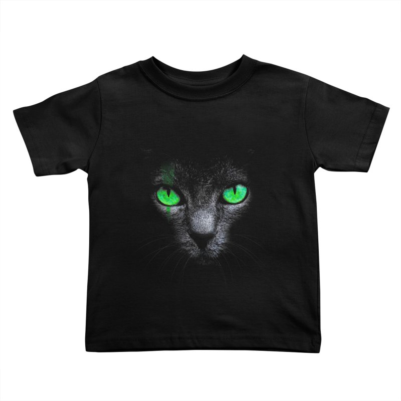 Black Cat Kids Toddler T-Shirt by Sitchko