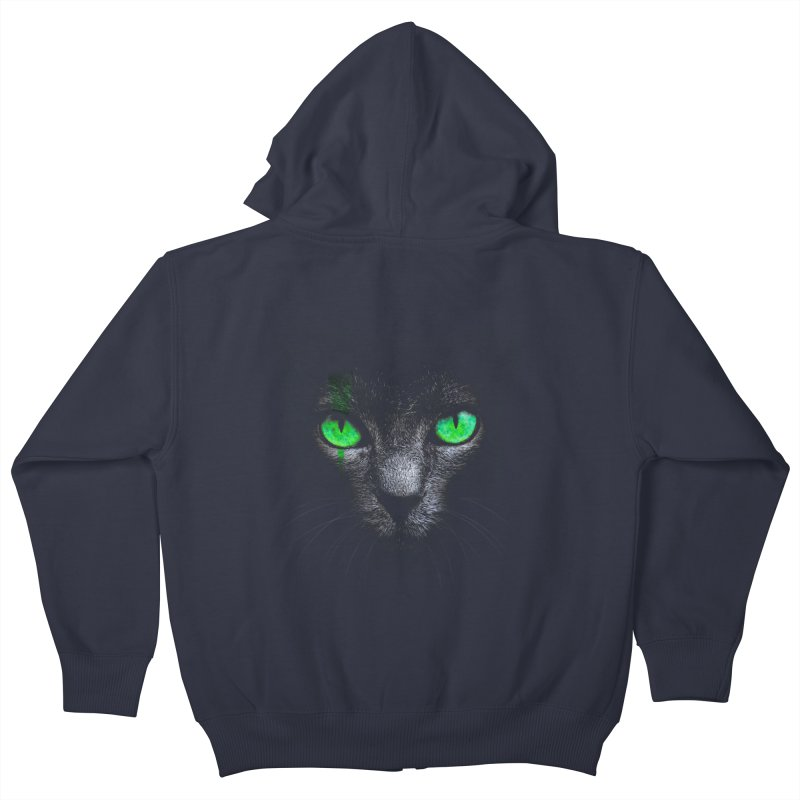 Black Cat Kids Zip-Up Hoody by Sitchko