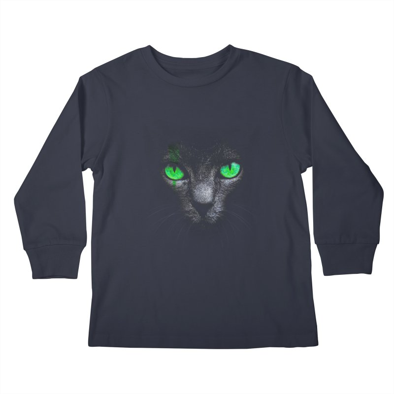 Black Cat Kids Longsleeve T-Shirt by Sitchko