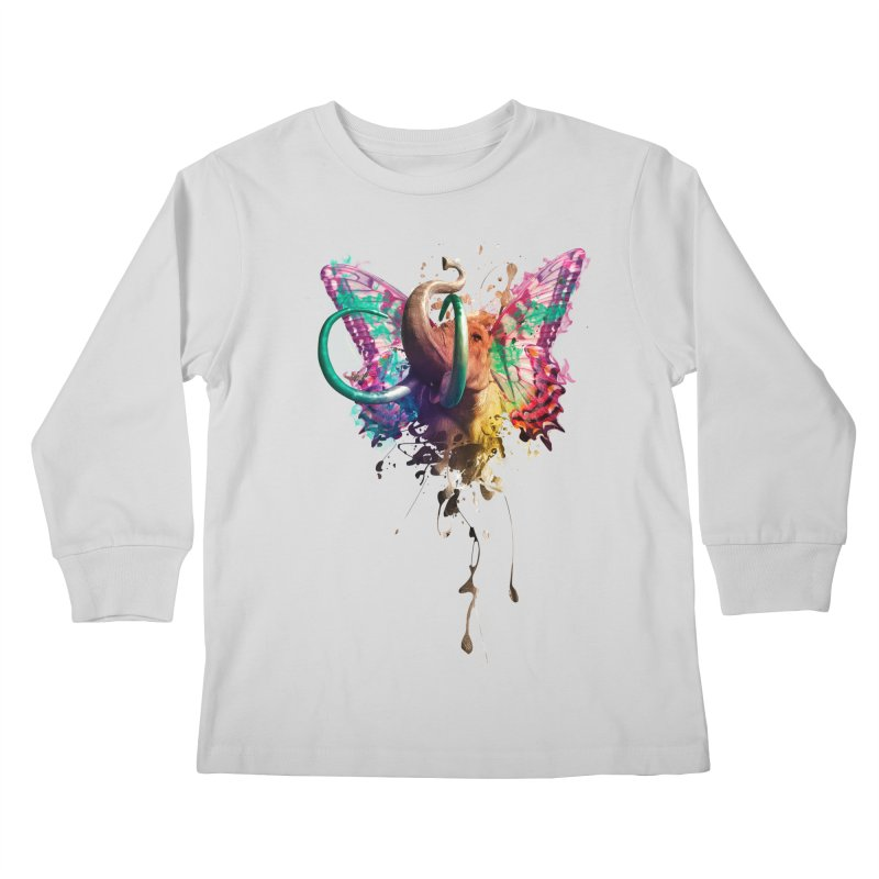 Elephant Need to Fly Kids Longsleeve T-Shirt by Sitchko
