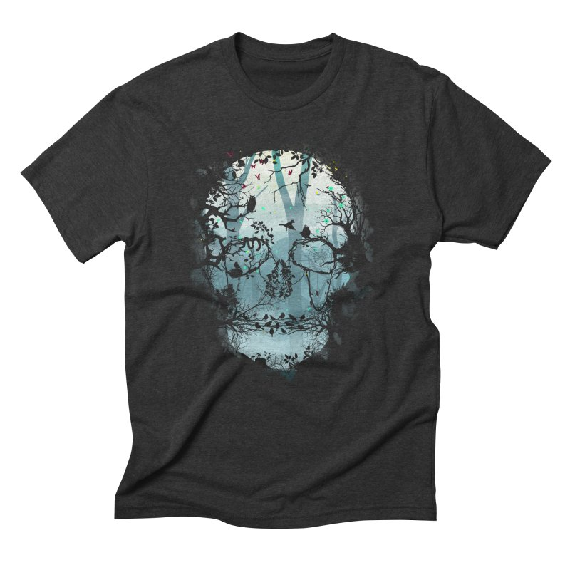 Dark Forest Skull in Men's Triblend T-shirt Heather Onyx by Sitchko