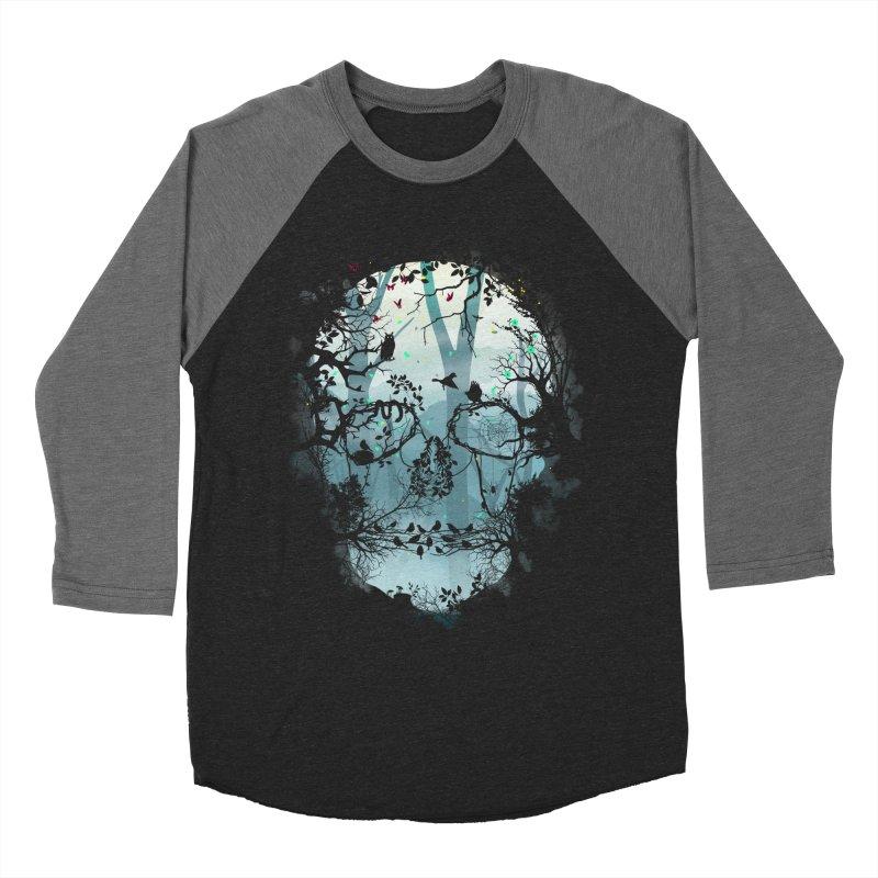 Dark Forest Skull Women's Baseball Triblend T-Shirt by Sitchko