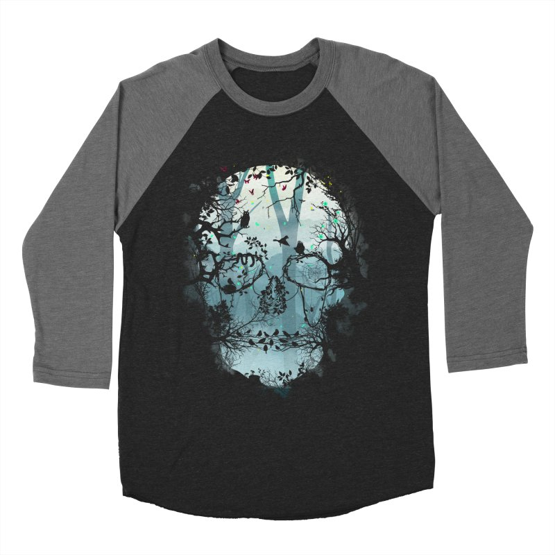 Dark Forest Skull Men's Baseball Triblend T-Shirt by Sitchko