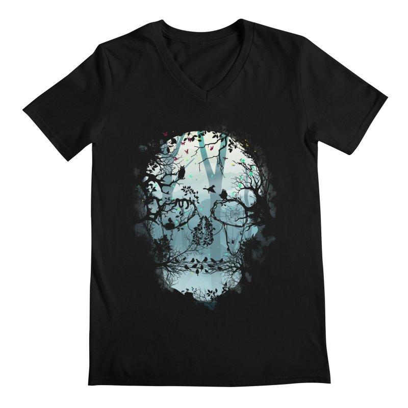 Dark Forest Skull Men's V-Neck by Sitchko