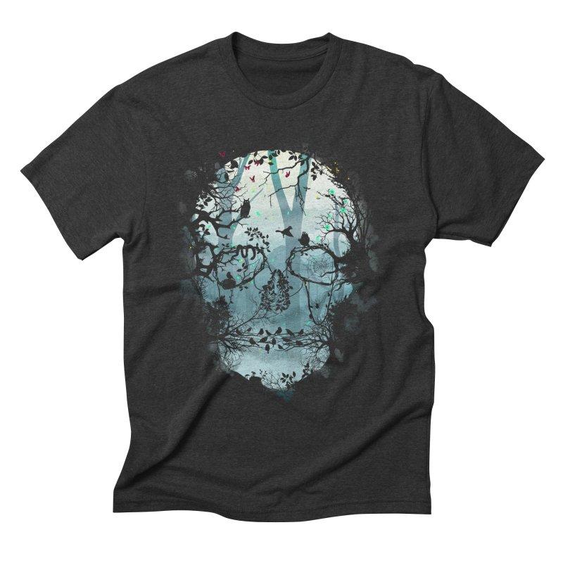 Dark Forest Skull Men's Triblend T-shirt by Sitchko