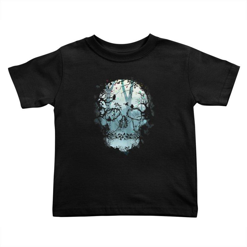 Dark Forest Skull Kids Toddler T-Shirt by Sitchko